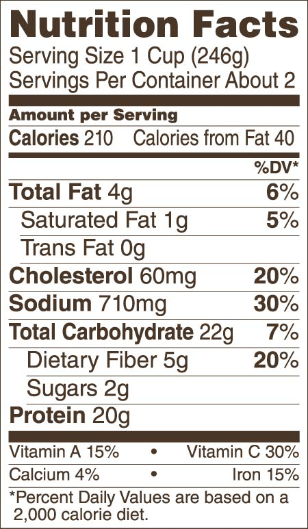 Buffalo Style Chicken Chili With Beans Nutrition Guide/Facts
