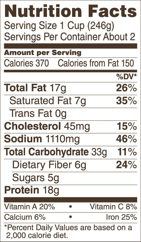 Sriracha Lime Chili With Beans Nutrition Guide/Facts
